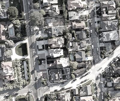 Osiedle z lotu ptaka, ukazujące nieruchomości inwestycyjne